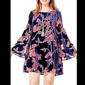 California Moon Rise Velvet Floral Gypsy Dress S